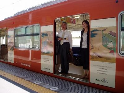 源氏物語ラッピング電車が大阪で運行